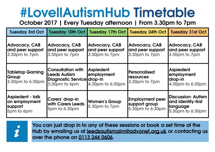 Lovell Autism Hub - October 2017 timetable