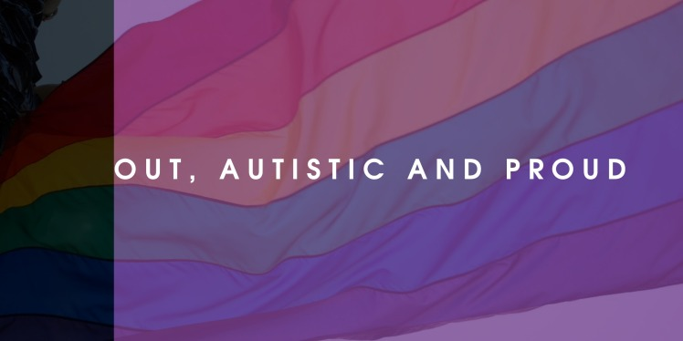 Out, Autistic and Proud - Gay Pride Flag in purple tint