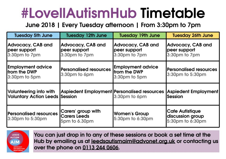 Lovell Autism Hub - June 2018 timetable