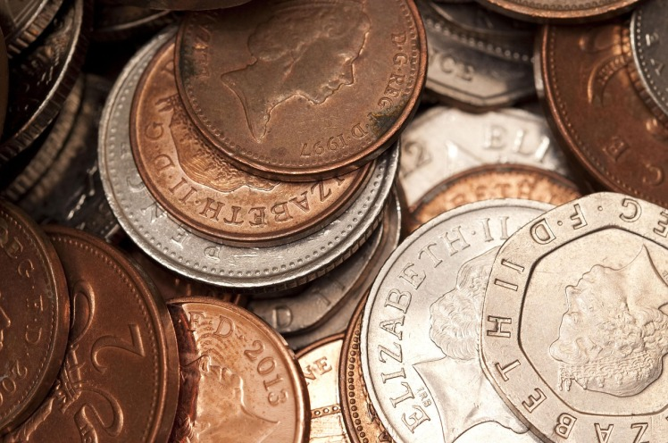 Pile of loose change in coins