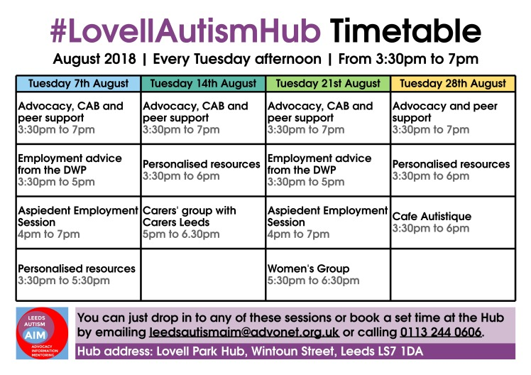 Lovell Autism Hub: August 2018 timetable