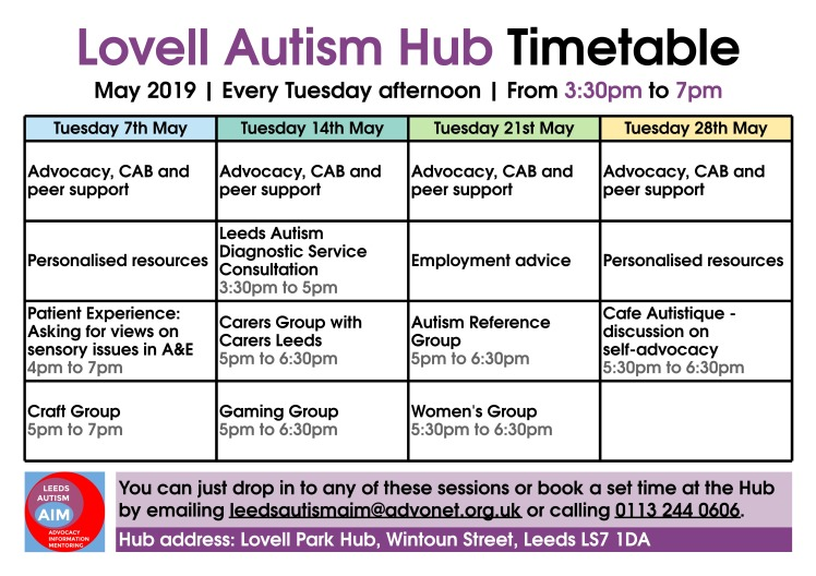 Lovell Autism Hub - May 2019 timetable