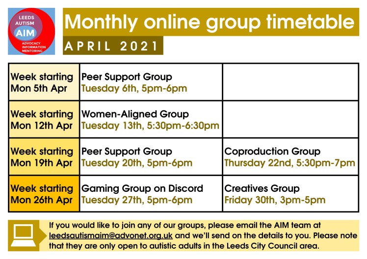 aim online group timetable - april 2021