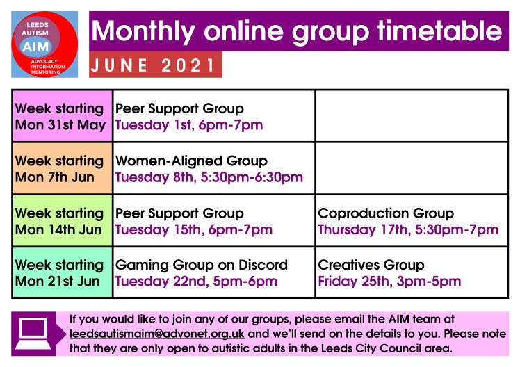 aim online group timetable - june 2021